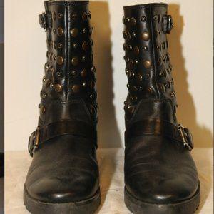 Michael Kors Shoes - MICHAEL KORS BLACK LEATHER STUDDED MOTO SHORT BOOT